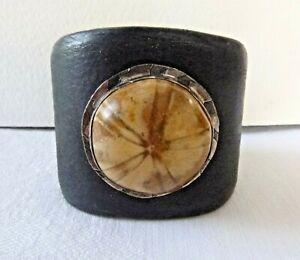 Artisan Heavy Leather Cuff Bracelet Large Fossilized Sea Urchin Sterling Silver