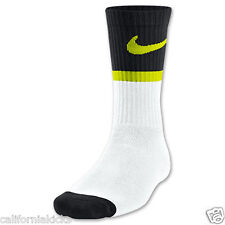 NIKE Classic Swoosh HBR Youth Crew Socks sz S Small (3Y-5Y) White Black Cyber