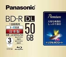 3 Panasonic Bluray DVD BD-R DL 50GB 4x Speed 3D Blu ray Inkjet Printable Discs