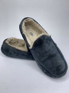 Ugg Ascot Mens Slippers Loafers Size 9 Navy Suede Leather Comfort Shoes 5775