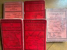 SET OF 5 OLD WARD LOCK RED GUIDES - 1940s - full of maps, plans & illustrations