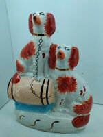 VINTAGE ANTIQUE STAFFORDSHIRE DOGS, SPANIELS,  8 inches Tall
