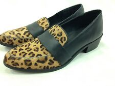 Charles By Charles David Shoes Womens 7.5 Black Slip On Leopard Print Fur Toe