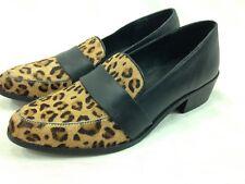 Charles By Charles David Shoes Womens 7.5 Black Slip On Leopard Print Fur Toe