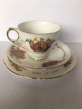 Commemoratve Teacup, Saucer, Side Plate Coronation Of Queen Elizabeth II