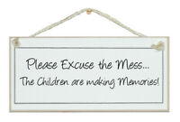 "/""Children Making Mess/"" Funny Distressed Sign Plaque Chic Gift Mother/'s Day Home"