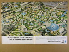 1963 New York World's Fair aerial view map illustration art Gas Assoc vintage Ad