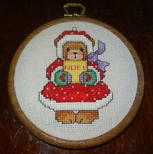 Teddy Bear Christmas Tree Ornament Girl Handmade Finished Cross Stitch NOEL