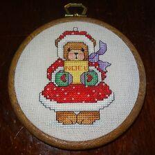 Teddy Bear Christmas Tree Ornament Girl Handmade Finished Cross Stitch NOEL
