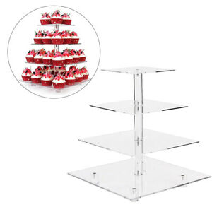 4 Tier Cupcake Stand Holder Tower Display Tree Acrylic Cake Carrier ( Square )
