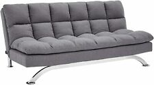 Sunrise Coast Geneva Fabric-Upholstery Futon Couch with Stainless-Steel Legs, Ha