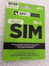 Simple mobile 4G LTE Dual SIM Card & 1st Month Unlimited Fast $60 Plan w Hotspot