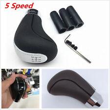 Universal Black 5Speed PU Leather Manual Car Gear Shift Knob Stick Lever+Adapter