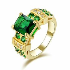 Gorgeous Size 6 Luxury Emerald 18K Gold Filled Women's Fashion Engagement Ring
