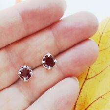 Granat rot rund edel elegant modern Ohrringe Ohrstecker 925 Sterling Silber neu