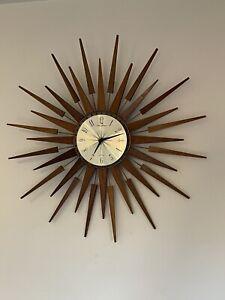 1960's Retro Teak Seth Thomas Sunburst Starburst Wall Clock Mid Century 66.5cm