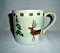 Vintage Hartstone Stoneware Reindeer Christmas Tree Coffee Mug Tea Cup 14 oz