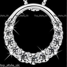 925 Sterling Silver Hollow Infinity Love Circle CZ Diamante Necklace Pendant  <3