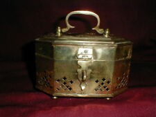 Antique Brass Cricket Cage Trinket Box w Hinged Lid - Made in India