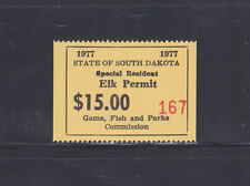 State Hunting/Fishing Revenues - SD - 1977 Elk Resident ($15) - MNH