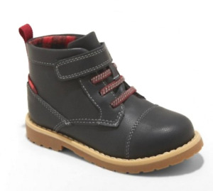 Cat & Jack Toddler Boys' Charcoal Red Plaid Adam Fashion Slip On Ankle Boots sz7