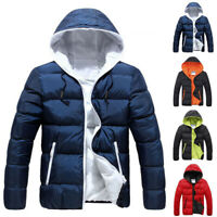 Mens Padded Zipper Hooded Coat Puffer Quilted Jacket Winter Warm Outwear Tops