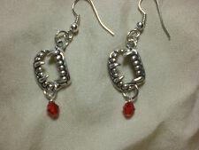 Vampire Fang TeethTwilight Blood Drop Earrings Silver Red
