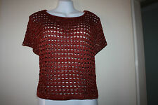 Glitzy Red Ochre Crochet Top Sz 14 NWT