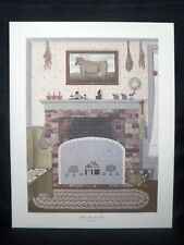 "Pat Pearson ""Were Friends Meet"" Fire Place Country Open Edition Lithograph"