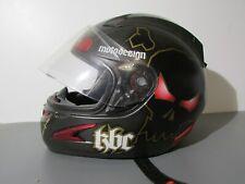 KBC Motodesign Motorcycle Helmet Snell Dot Skull Black Red Gold Large e