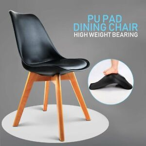 4x Dining Chairs Kitchen Table Chair Lounge Room Plastic Wood Retro Padded Seat