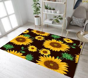 Yellow Sunflowers Green Leaves Yoga Carpet Floor Rug Mat Bedroom Decor Area Rugs
