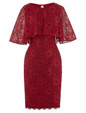 KK Women Red Lace Short Bodycon Evening Dress Cape Sleeve Bridal Prom Party Gown
