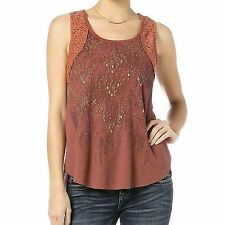 Miss Me Womens Lacy Cut Out Studded Layered Tank Top Size L