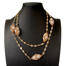 """Cultured White Pearl Crystal Pave Station Necklace Gold Plated Cz Chain  39"""""""