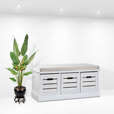White Three Drawer Crate Bench Slatted Seating Hallway Bedroom Storage Cushion U