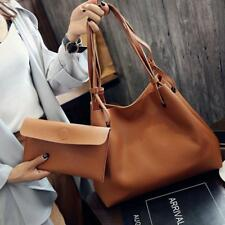 Womens 2pcs/set Ladies PU Leather Tote Shoulder Handbag Purse Shopper Clutch Bag