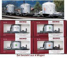 BEMO H0m 7459 110 / 7459110 Schmalspur-Zementwagen-Set 4-teilig RhB silbern neu