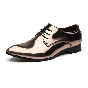 Oxfords Men Dress Shoes Rubber Sole Patent Leather Solid Color Vegan Block Heel
