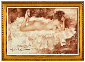 Ramon Kelley Original Pastel Painting Signed Nude Female Portrait Framed Artwork