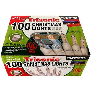 100 Mini Christmas Holiday Clear Lights X-Mas Tree Window White Wire Use Outdoor