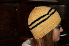 Harry Potter Hat Hufflepuff School Colors Hat  Hand Knit Beanie Hufflepuff Hat
