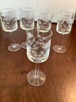 """Set of 5 Vintage Etched Floral Stemmed Cordial Liqueur Glasses 5 1/2"""" Tall"""