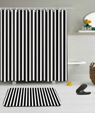 "Black White Striped Fabric Shower Curtain Set 71/79"" +Hooks Bath Accessories MAt"