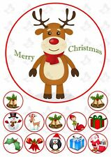 Christmas Reindeer 19cm PERSONALISED Edible Round Cake topper & 12 toppers