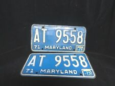 Vintage MARYLAND  1971 LICENSE PLATE SET * Front & Back * Blue & White AT 9558