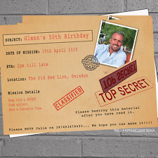 12 x Personalised Secret Surprise Photo Adult Birthday Party Invitations | H1572
