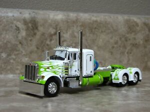 DCP 1/64 Lime Green Flames White Peterbilt Semi Truck Farm Toy