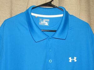 UNDER ARMOUR Mens 2XL Golf Polo Shirt Blue Microfiber Loose Fit Heat Gear