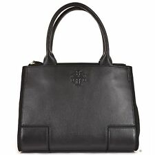 TORY BURCH Ella Leather Canvas Small Tote Shoulder Bag Black NEW WITH TAGS